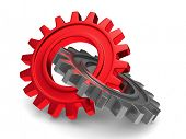stock photo of cogwheel  - Two chrome gears on white background - JPG
