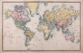 Original old hand coloured map of the World on Mercators projection circa 1860,the countries are named as they were then i.e. Persia, Arabia etc. a few stains as expected for a map over 150 years old.
