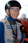 BUKOVEL, UKRAINE - FEBRUARY 23: Silver medalist Nadiya Didenko, Ukraine gives interview during Frees