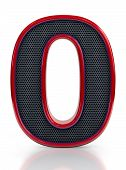 Number 0 symbol with grille mesh inside isolated on white background.