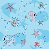 Blue seamless pattern with sea life