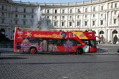 Rome-december, 30Th, 2008.two-storeyed Tourist Bus