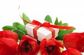 Photo of fresh tulip bouquet, little gift box for mom, festive still life, isolated on white background, happy mothers day, valentine day, present for birthday, love and romance concept