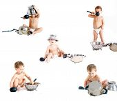 Cooking Child Over White Collection poster
