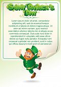 Saint Patrick's Day. Party Background with Joyful Drunken Leprechaun. Poster for Your Text, Design. Vector