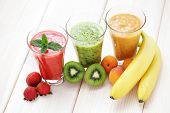pic of fruit shake  - various fruity shakes with fresh fruits  - JPG