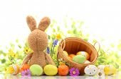 stock photo of easter decoration  - Easter decoration with rabbit and eggs - JPG