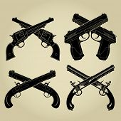 stock photo of crossed pistols  - Crossed Pistols Evolution Silhouettes - JPG