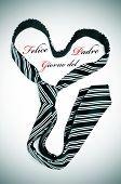 Постер, плакат: галстук формирования сердца и приговор Феличе giorno дель Падре счастливы отцы день написано на итальянский