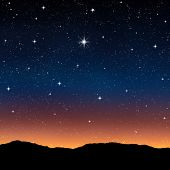 starry sky at night with bright wishing star