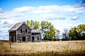 stock photo of nebraska  - Abandoned farm house on the Nebraska range - JPG