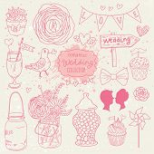 Romantic vector set in pink colors. A lot of vector elements:  tablet, jar, bouquet, bow, cupcake, r
