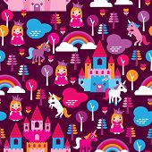 stock photo of princess crown  - Seamless princess castle and horse rainbow retro kids background pattern in vector - JPG