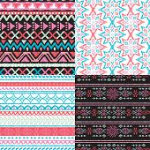 Seamless blue green and pink aztec vintage folklore background pattern in vector