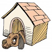 An image of a dog alone in a doghouse.