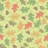 Autumn Seamless Pattern With Acorns
