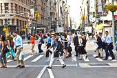 New York, Usa - July 13: People Hurry Downtown Manhattan To Their Offices In Early Morning  On July