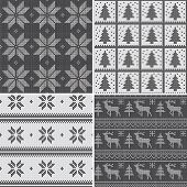 image of scandinavian  - A set of traditional Christmas knitted Scandinavian patterns in black and white - JPG