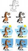 Horses Cartoon Characters 1  Collection Set