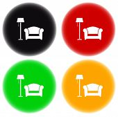 colorful round icon with floor lamp, armchair