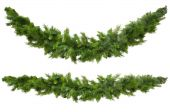 foto of christmas wreaths  - Christmas garlands curved and straight isolated on white - JPG