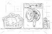 vector - washing machine and clothes at Bathroom