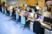 MOSCOW - MAR 5: Rows of workplaces in office buildings news agency RIA Novosti on March 5, 2013 in M