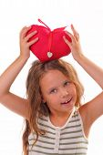Pretty Little Girl With A Gift For St. Valentine's Day
