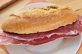 a spanish bocadillo de jamon serrano, a serrano ham sandwich
