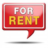 For rent sign renting a house apartment or other real estate button. Home to let icon.