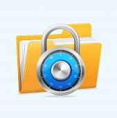 stock photo of combination lock  - Yellow computer folder and combination lock - JPG