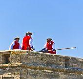 Historical Weapons Demonstration In  Castillo De San Marco In Original Costumes