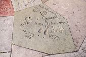Handprints In Hollywood Boulevard In The Concrete Of Chinese Theatre's Forecourt