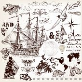 Vector Set Of Vintage Elements On Marine Theme With Ship And Swirls