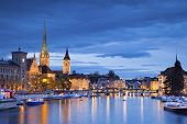 stock photo of zurich  - Image of Zurich during twilight blue hour - JPG