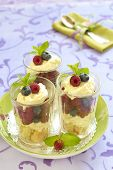 Berry dessert with mascarpone and biscuit