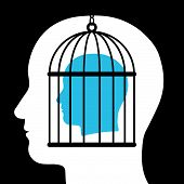 pic of freedom speech  - Conceptual illustration of a caged head emanating from a silhouetted head below showing a captive with lack of freedom of speech - JPG
