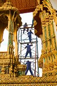Worker Renovate The Temple In The Grand Palace