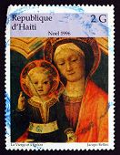 Postage Stamp Haiti 1996 The Virgin And Infant, By Jacopo Bellin
