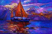 image of acrylic painting  - Original oil painting of sail ship and sea on canvas - JPG