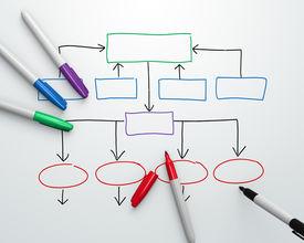 picture of sharpie  - Organization chart being drawn with felt - JPG