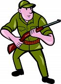 Hunter Carrying Rifle Cartoon