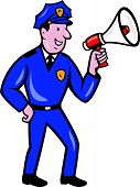 Policeman Shouting Bullhorn Isolated Cartoon