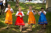 TERVENICHI, RUSSIA - JUL 7, 2013: Unidentified local children celebrated Ivan Kupala Day. The celebr