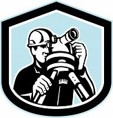 picture of theodolite  - Illustration of a surveyor geodetic engineer with theodolite instrument surveying viewed from front set inside shield crest shape done in retro style - JPG