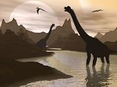 picture of pteranodon  - Brachiosaurus dinosaurs walking in water landscape by sunset - JPG