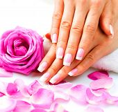 Manicure and Hands Spa. Beautiful Woman hands closeup. Manicured nails and Soft skin. Beauty hands w