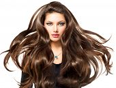 image of brunette hair  - Fashion Model Girl Portrait with Long Blowing Hair - JPG