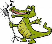 Singing Crocodile Cartoon Illustration