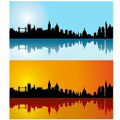 Black vector London silhouette skyline on day